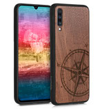 Walnussholz Case Samsung Galaxy A70 Kompass