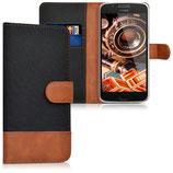 Wallet Case Motorola Moto G5 Canvas Schwarz Braun