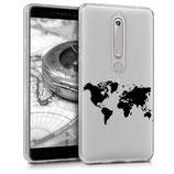 TPU Case Hülle Nokia 6.1 (2018) Weltkarte