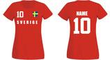 Schweden WM 2018 T-Shirt Damen Rot