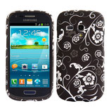 TPU Case Samsung Galaxy S3 Mini i8190 Blumen Schwarz