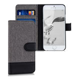 Wallet Hülle Apple iPhone 6 / 6S Canvas Grau