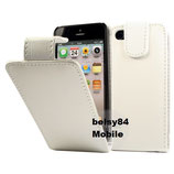 Leder Case für Apple iPhone 5, Etui Klappcase Flipcas Weiss