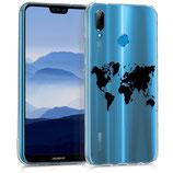 TPU Case Hülle Huawei P20 Lite Weltkarte