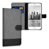 Wallet Case Hülle Huawei Nova Plus Canvas Grau-Schwarz