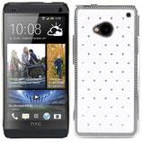 RHINESTONE HARD CASE FÜR HTC ONE M7 WEISS CHROM STRASS