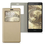 Flip Case Huawei P9 Lite Fenster Gold