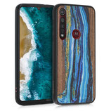 Holz Case Hülle Farbrush Motorola Moto G8 Plus