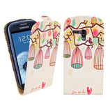 Flip Leder Tasche Samsung Galaxy S3 Mini Bunt Vogel Käfig