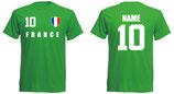 Frankreich WM 2018 T-Shirt Druck/Name Grün