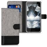 Wallet Case Hülle HTC U11 Life Canvas Grau-Schwarz