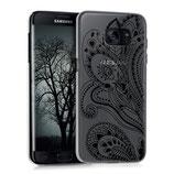 Crystal Hülle Samsung Galaxy S7 Edge Paisley Blume Schwarz Transparent