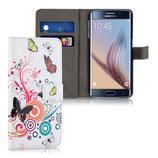 Wallet Ledertasche Samsung Galaxy S6 Edge Schmetterling