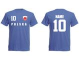 Polen WM 2018 T-Shirt Name/Druck Blau
