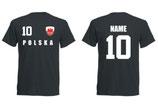 Polen WM 2018 T-Shirt Name/Druck Schwarz