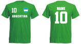 Argentinien T-Shirt WM 2018 Druck/Name Grün