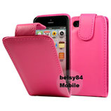 Leder Case für Apple iPhone 5, Etui Klappcase Flipcas Pink