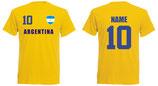 Argentinien T-Shirt WM 2018 Druck/Name Gelb