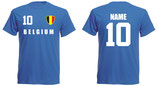 Belgien WM 2018 T-Shirt Druck/Name Blau