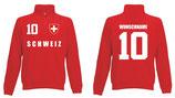 Schweiz Pullover WM 2018 Druck/Name Rot