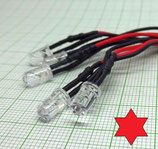 5 X Rot blink LED mit Kabel 12V