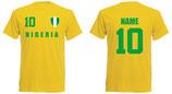 Nigeria WM 2018 T-Shirt Druck/Name Gelb