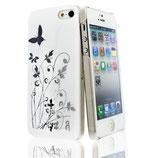 Hard Case Schmetterling f Apple iPhone 5 Cover Schutz Hülle Weiss