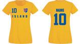 Island WM 2018 T-Shirt Damen Gelb