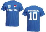 Kroatien T-Shirt EM 2016 Name/Druck Blau