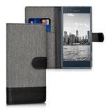 Wallet Case Hülle Sony Xperia XZ Canvas Grau-Schwarz