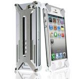 Hard Case Metall f. Apple iPhone 5 Schwarz Bumper Silber