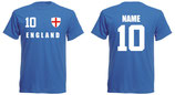 England WM 2018 T-Shirt Druck/Name Blau