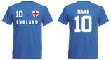 England WM 2018 T-Shirt Druck/Name Blau