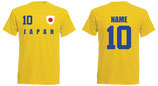 Japan WM 2018 T-Shirt Druck/Name Gelb