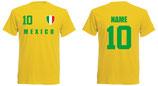 Mexiko WM 2018 T-Shirt Druck/Name Gelb
