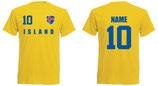Island WM 2018 T-Shirt Druck/Name Gelb