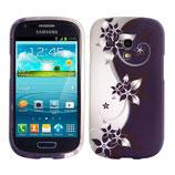 TPU Case Samsung Galaxy S3 Mini i8190 Blumen Weiss