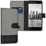 Wallet Case Hülle Nokia 5 Canvas Grau Schwarz