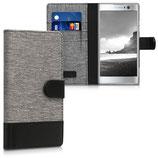 Wallet Case Hülle Sony Xperia XA2 Canvas Grau-Schwarz