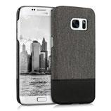 Hardcase Canvas Samsung Galaxy S7 Edge Grau-Schwarz