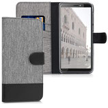 Wallet Case HTC Desire 12+ Canvas Grau