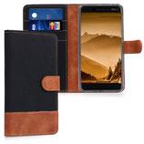Wallet Case Hülle Nokia 6.1 (2018) Canvas Braun-Schwarz