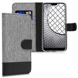 Wallet Case Huawei Honor 10 Canvas Grau-Schwarz