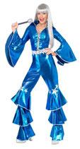 70er Jahre Kostüm für Damen blau Flower