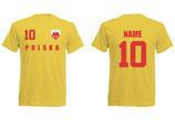 Polen WM 2018 T-Shirt Name/Druck Gelb