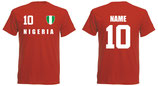 Nigeria WM 2018 T-Shirt Druck/Name Rot