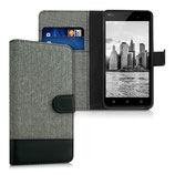 Wallet Case Hülle Wiko Jerry Canvas Grau