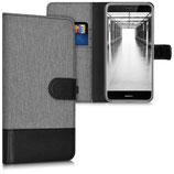 Wallet Case Huawei P8 Lite 2017 Canvas Grau-Schwarz