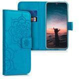Wallet Case Samsung Galaxy A20e Blumen Zwillinge Blau