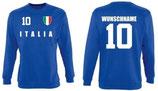 Italien Pullover EM 2016 Name/Druck Blau